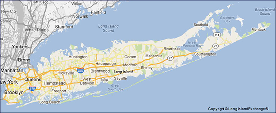 Long Island, Brooklyn and Queens counties of New York